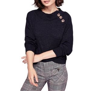 Free People Don't forget me top black button relax